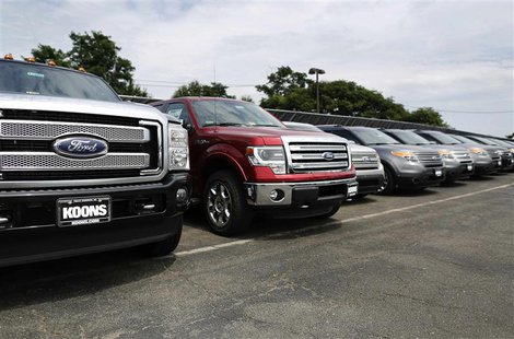 New Ford vehicles occupy the lot at Koons Ford dealership in Fairfax, Virginia, in this July 24, 2013 file photo. REUTERS/Jonathan Ernst/Fil