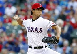 Texas Rangers starting pitcher Yu Darvish in Thursday's historic performance.