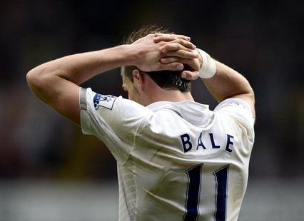 Tottenham Hotspur's Gareth Bale reacts during their English Premier League soccer match against Sunderland at White Hart Lane in London May