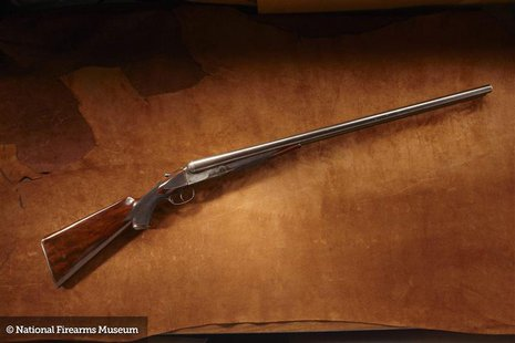 Former U.S. President Grover Cleveland's 8 Gauge Colt Shotgun is pictured in this undated handout photo provided by the National Firearms Mu