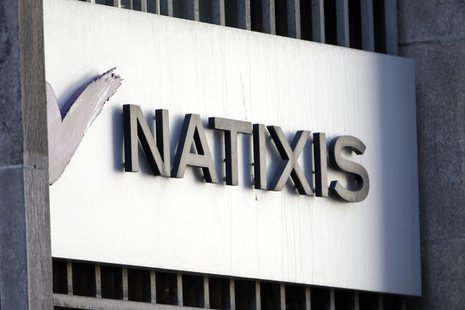The logo of French bank Natixis is seen outside one of their offices in Paris February 18, 2013. REUTERS/Charles Platiau
