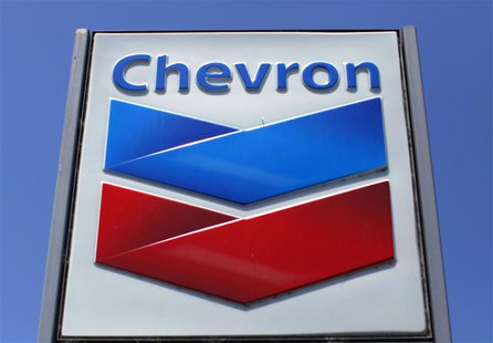 A Chevron gas station sign is seen in Del Mar, California, in this file photo from April 25, 2013. REUTERS/Mike Blake/Files