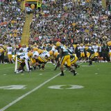 Packers players line up on both sides of the ball during the annual Family Night scrimmage on Saturday August 3, 2013. (Photo by: FOX 11)