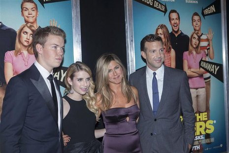 "(L - R) Cast members Will Poulter, Emma Roberts, Jennifer Aniston and Jason Sudeikis arrive for the premiere of the film ""We're the Millers"""
