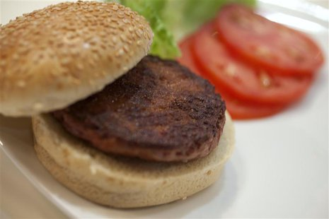 The world's first lab-grown beef burger is seen after it was cooked at a launch event in west London August 5, 2013. REUTERS/David Parry/poo