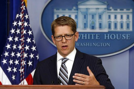White House Press Secretary Jay Carney speaks to reporters at the White House in Washington July 22, 2013. REUTERS/Kevin Lamarque