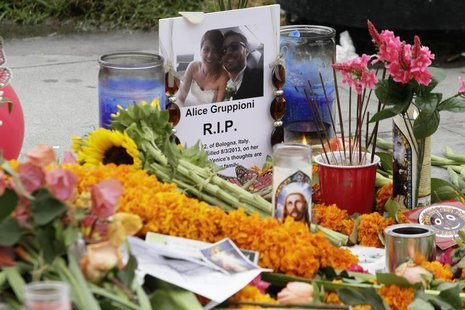 A makeshift memorial stands on the Venice Beach boardwalk for Alice Gruppioni, a tourist on her honeymoon from Bologna, Italy, who was kille