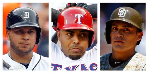 Detroit Tigers Jhonny Peralta (L), Texas Rangers Nelson Cruz (C), and San Diego Padres Everth Cabrera are among 12 Major League Baseball pla