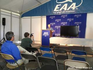 EAA board chairman Jack Pelton speaks to the media on the final day of AirVenture 2013. (Photo by: FOX 11).