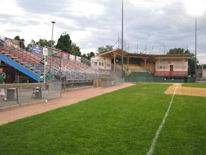 Wausau's Athletic Park grandstand and bleachers, taken after Woodchucks final home game 8/4/13 before the stadium renovation project.