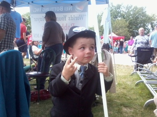 Re-elected as Mayor of Dorset Minnesota, 4 year old Bobby Tufts.