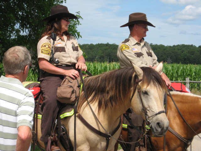 Hubbard County Mounted Sheriff's keeping track of traffic.