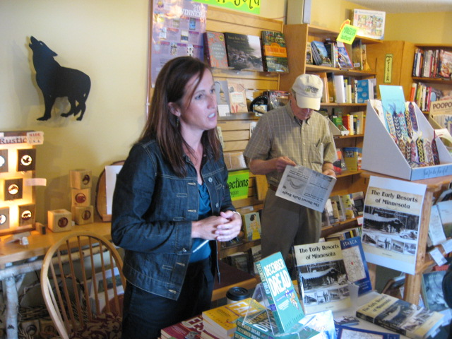 KFGO's Nighttime Live friend Jess Lourey autographing her books at the Sister Wolf's Book Store in Dorset.