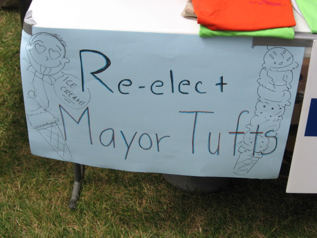 Signs from the Mayors Campaign booth.