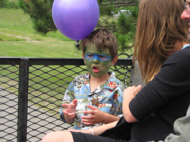 The INCREDIBLE HULK...no wait...that's a kid with his face painted