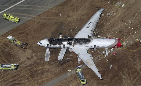 An Asiana Airlines Boeing 777 plane is seen in this aerial image after it crashed while landing at San Francisco International Airport in Ca