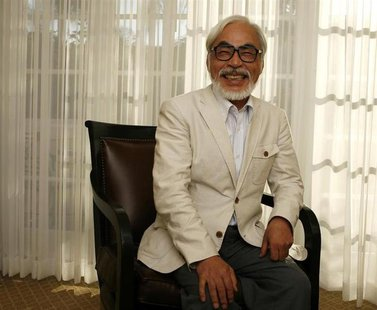 "Japanese director Hayao Miyazaki of the animated movie ""Ponyo"" smiles as he poses for a picture in Los Angeles July 28, 2009. REUTERS/Mario"