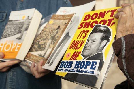 Books written by and about the late actor Bob Hope are among the items purchased during a garage sale at the actor's estate in the Toluca La