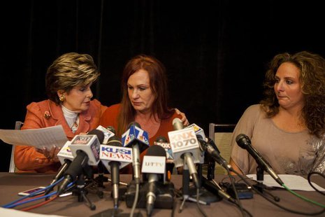 (From L-R) Attorney Gloria Allred, Michelle Tyler and Katherine Ragazzino attend at a news conference in San Diego, California, August 6, 20