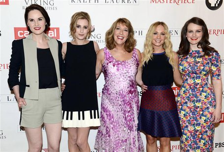 Cast members (L-R) Michelle Dockery, Laura Carmichael, Phyllis Logan, Joanne Froggatt and Sophie McShera pose for photographers before the p