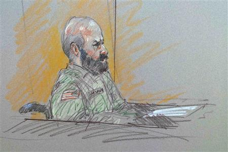 Major Nidal Malik Hasan, the U.S. Army psychiatrist charged in a mass shooting, is seen in a courtroom sketch on the opening day of his trial at the U.S. Army post in Fort Hood, Texas, August 6, 2013.  REUTERS/Brigitte Woosley
