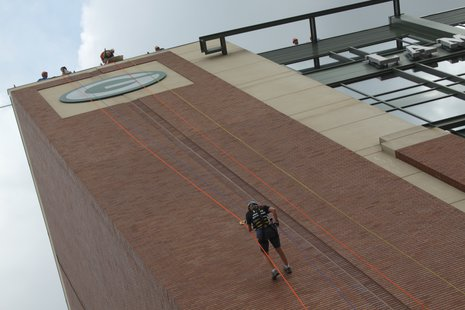 Rappelling Lambeau Field for Special Olympics