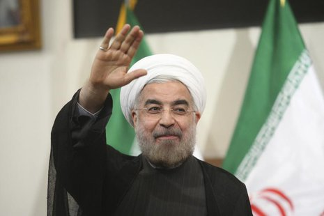 Iranian President-elect Hassan Rohani gestures to the media during a news conference in Tehran June 17, 2013. REUTERS/Fars News/Majid Hagdos