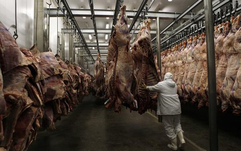 A worker arranges slaughtered cattle in the freezing room in the Marfrig Group slaughter house in Promissao, 500 km northwest of Sao Paulo O