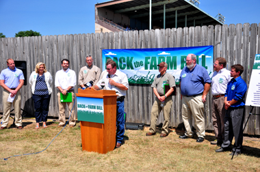A group of coalition members at a press conference at the Sioux Empire Fairgrounds. (Image courtesy SDFU)