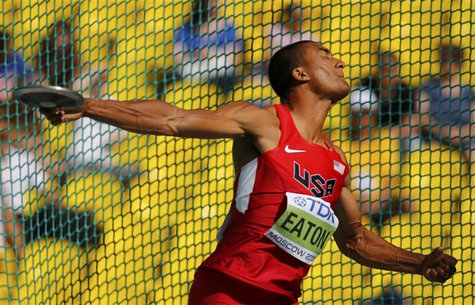 Ashton Eaton of the U.S. competes in the men's decathlon discus throw event during the IAAF World Athletics Championships at the Luzhniki st