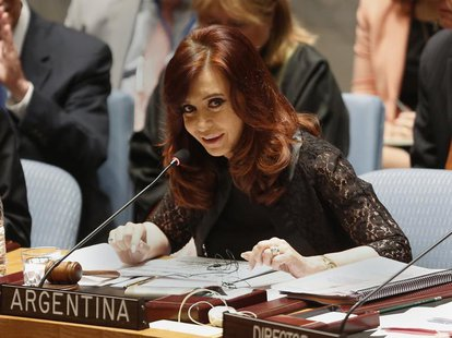 Argentina's President Cristina Fernandez de Kirchner speaks during a Security Council meeting at the United Nations in New York August 6, 20
