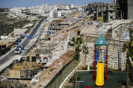 A general view of apartment blocks under construction is seen in the West Bank Jewish settlement of Beitar Ilit, near Bethlehem August 11, 2