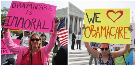 A combination file photo shows opponents (L) and supporters (R) of Affordable Healthcare Act rally on the sidewalk at the Supreme Court in W