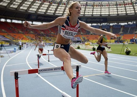 Meghan Beesley of Britain competes in the women's 400 metres hurdles heat during the IAAF World Athletics Championships at the Luzhniki Stad