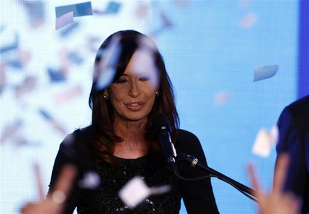 Argentine President Cristina Fernandez de Kirchner smiles after the first results of the Congressional primary elections in Buenos Aires Aug