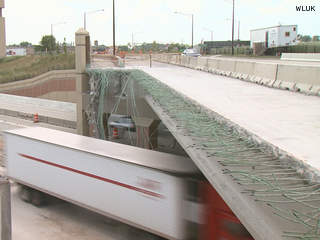 The Scheuring Road overpass over Hwy. 41 in De Pere is seen as it undergoes repairs, July 18, 2013. (Photo by: FOX 11).