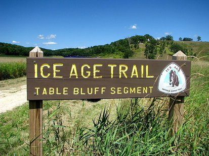 Wisconsin Ice Age Trail sign near Cross Plains.