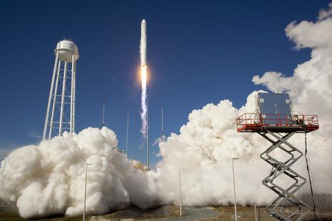 The Orbital Sciences Corporation Antares rocket is seen as it launches from Pad-0A of the Mid-Atlantic Regional Spaceport (MARS) at the NASA
