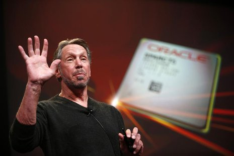 Co-founder and Chief Executive of Oracle Corporation, Larry Ellison introduces the company's latest SPARC servers at Oracle Conference Cente