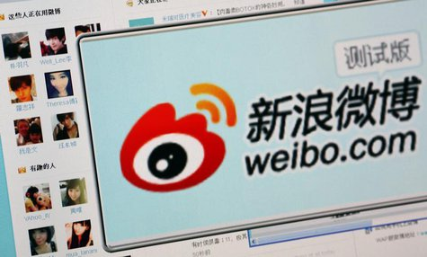 "The logo of Sina Corp's Chinese microblog website ""Weibo"" is seen on a screen taken in Beijing in this September 13, 2011 file photo illustr"