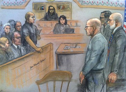 "James ""Whitey"" Bulger (front, R) listens to the verdict in his murder and racketeering trial as seen in this courtroom drawing in Boston Aug"