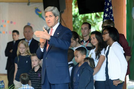 U.S. Secretary of State John Kerry gives a speech to employees of the U.S. Embassy and their relatives in Brasilia August 13, 2013. REUTERS/