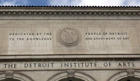 A detail of the facade of the Detroit Institute of Arts is seen in Detroit, Michigan June 2, 2013. REUTERS/Rebecca Cook