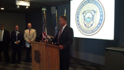 Wisconsin Attorney General J.B. Van Hollen announces a $25,000 state grant to the Green Bay Police Department to fight heroin abuse and addiction. (Photo by: Jeff Flynt).