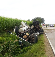 Algansee Township fertilizer tanker truck rollover August 12, 2013