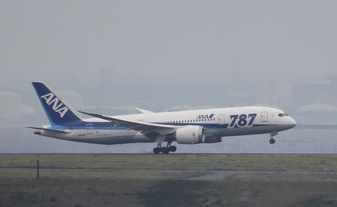 An All Nippon Airways' (ANA) Boeing Co's 787 Dreamliner plane, which flew from Sapporo in Northern Japan, lands at Haneda airport in Tokyo M
