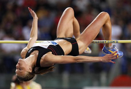 Emma Green Tregaro of Sweden competes in the women's high jump event during the Golden Gala IAAF Diamond League at the Olympic stadium in Ro