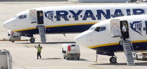 Ryanair planes are seen parked at Girona airport, September 20, 2012. REUTERS/Albert Gea