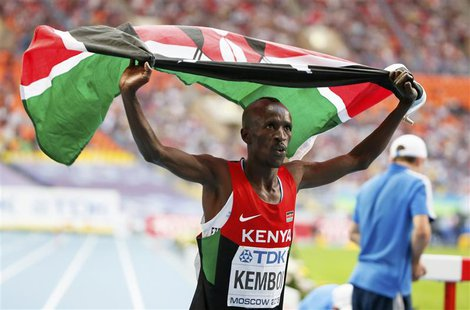 Ezekiel Kemboi of Kenya celebrates his victory in the men's 3000 meters steeplechase final of the IAAF World Athletics Championships at the