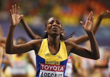Abeba Aregawi of Sweden celebrates her victory during the women's 1500 metres final of the IAAF World Athletics Championships at the Luzhnik